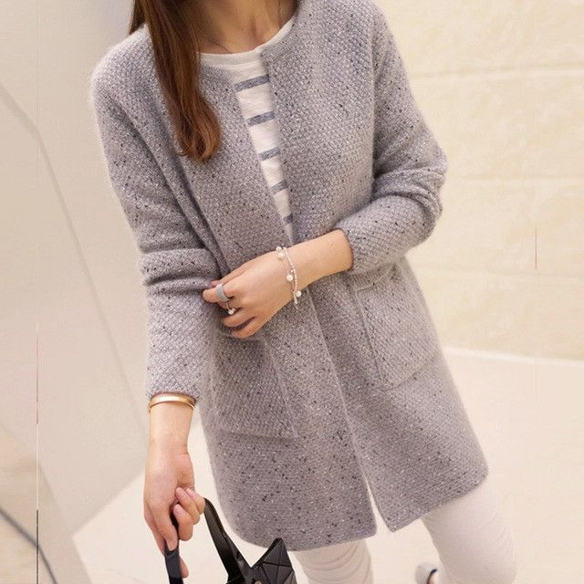 New Winter Women Casual Long Sleeve Knitted Cardigans 2016 Autumn ...