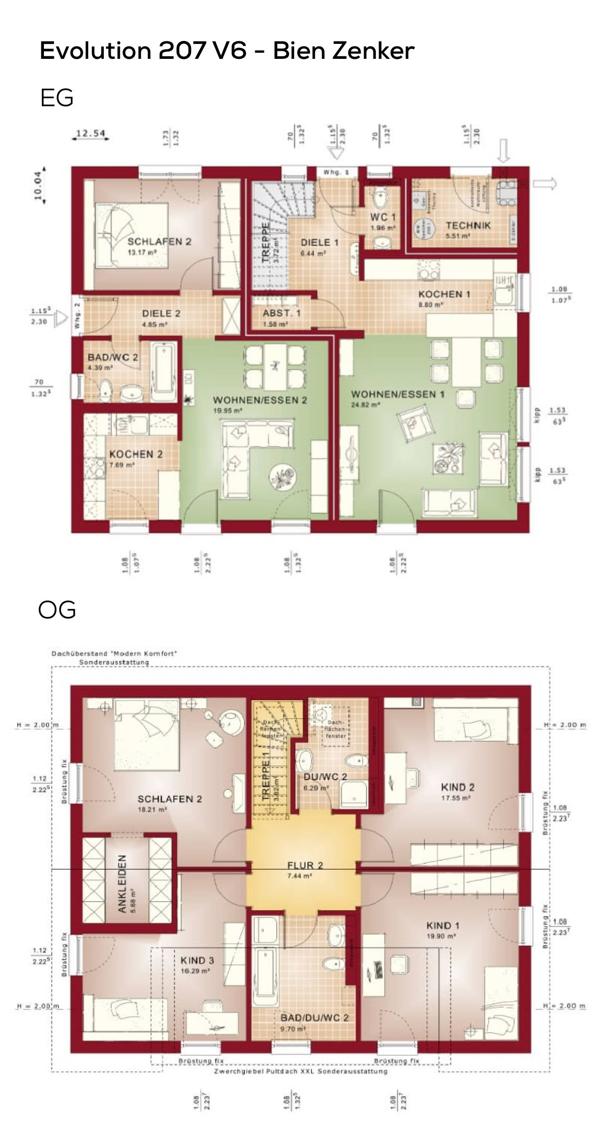 grundriss einfamilienhaus mit einliegerwohnung satteldach mit zwerchgiebel 7 zimmer 208 qm. Black Bedroom Furniture Sets. Home Design Ideas