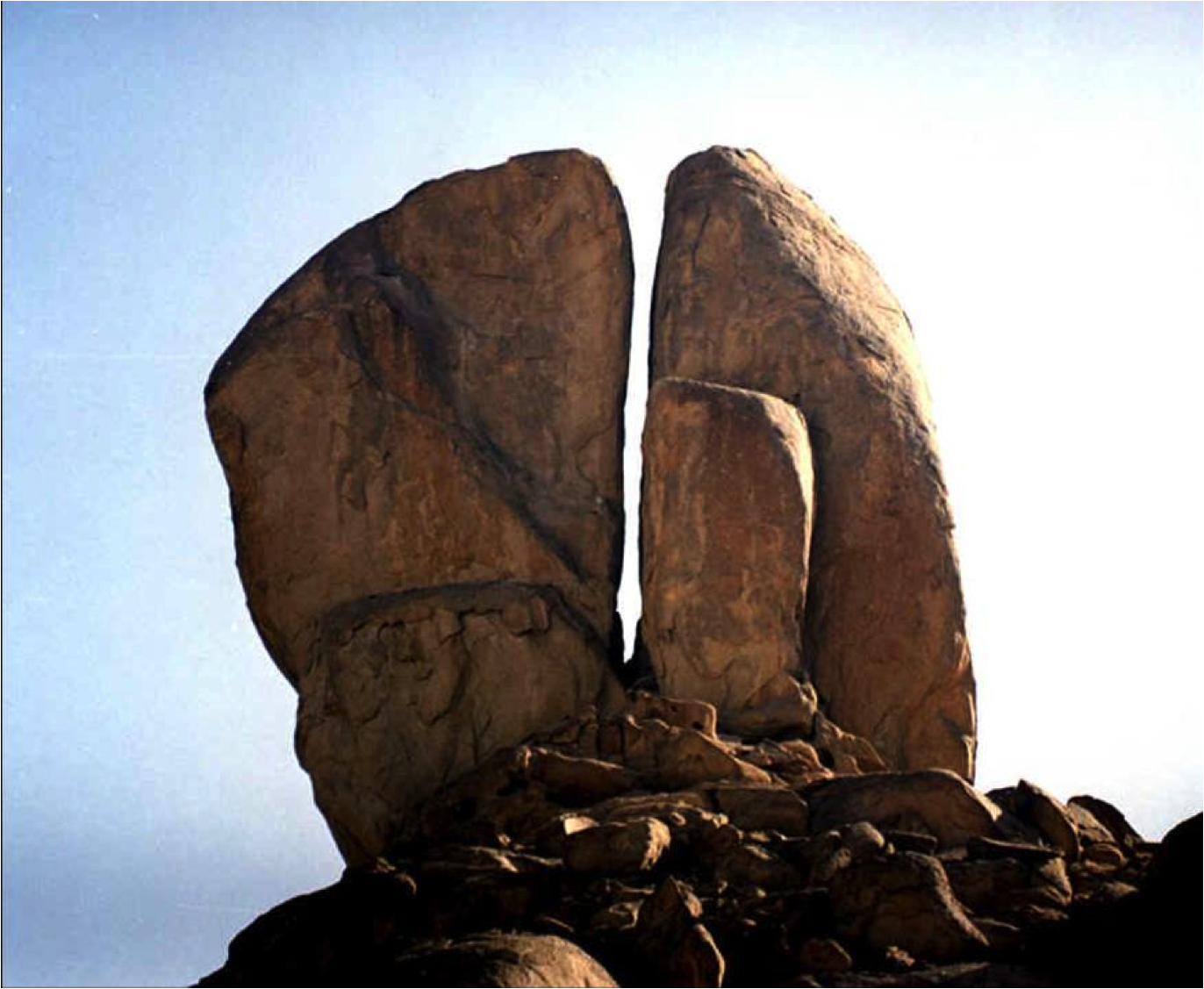 Split rock at Rephadim, Saudi Arabia  Was this the rock