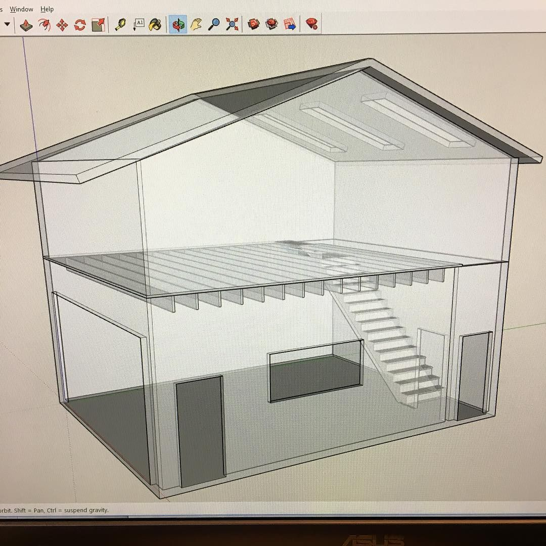 First Sketchup I Did Not Sure How A Gable Roof Will Do Stretched To 29 X 18 Here It S About 20x20 Gable Roof Roof Exterior
