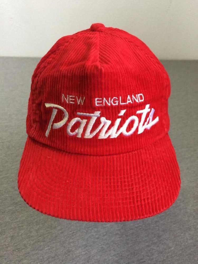 cheaper a49e1 6acd0 NEW ENGLAND PATRIOTS Hat 80s Vtg Sports Specialties Script Red Corduroy Zip  Back