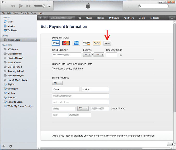 Remove A Credit Card From Your Itunes Account Credit Card Itunes Itunes Gift Cards