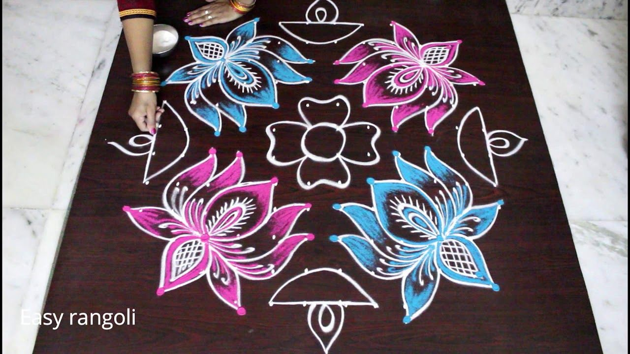 New Year 2018 Lotus Rangoli Art Designs With Dots Kolam Designs For Ne Lotus Rangoli Simple Rangoli Designs Images Kolam Designs