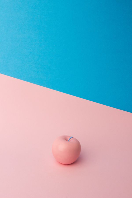 Art Light Wall Blue Pink Apple Fruit Abstract Table Object Aesthetic Pink And Blue Aesthetics Blue And Pink Objek Gambar Seni Poster Bunga