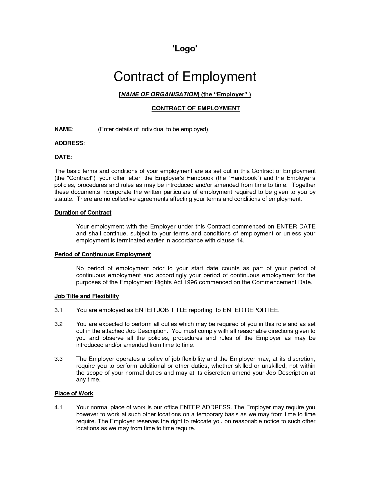 Printable Sample Employment Contract Sample Form – Format for Contract