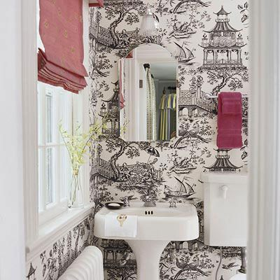 Half bathrooms small bathroom small rooms and wallpaper - Toile bathroom decor ...