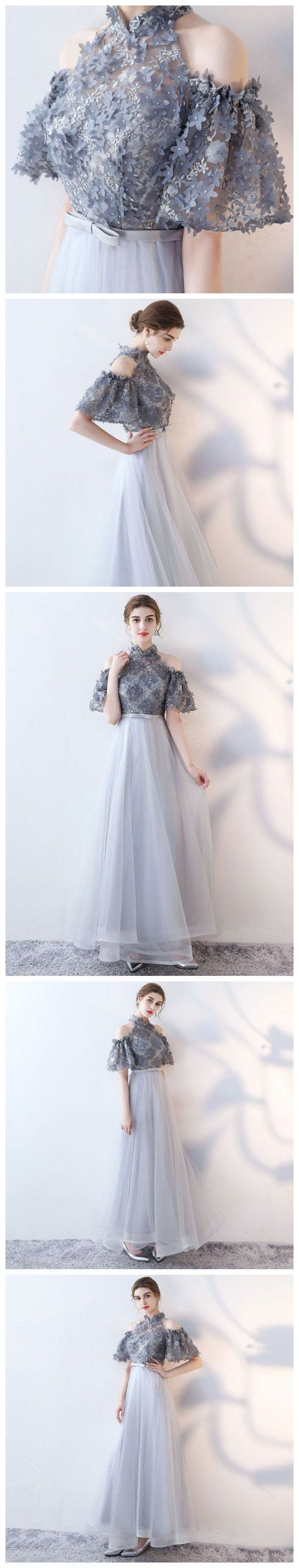 chic aline high neck tulle applique long prom dress evening