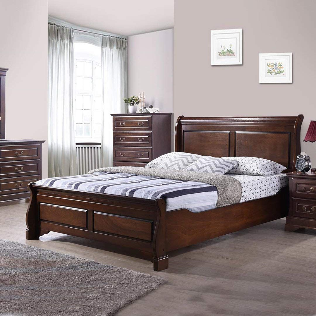 Royaloak Sydney Queen Size Solid Wood Bed Rubber Wood
