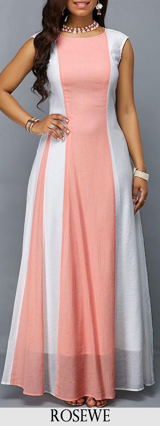 Round neck sleeveless zipper back maxi dress title pinterest