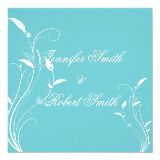 This Beautiful And Elegant Design Called Aqua Blue Floral Filigree Wedding Has An Background In Front Of That Are White