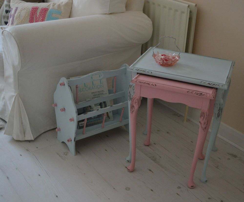 SOLD FREE Delivery Nest of 2 Pastel Pink Blue Carved Shabby Chic Mahogany Wood Tables