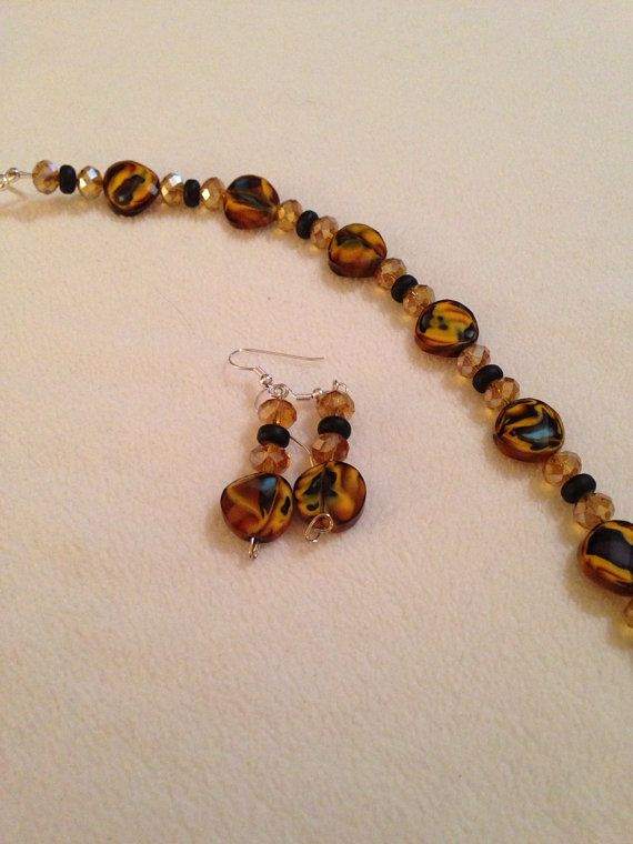 Unique beads- Bracelet earring set on Etsy, $18.00