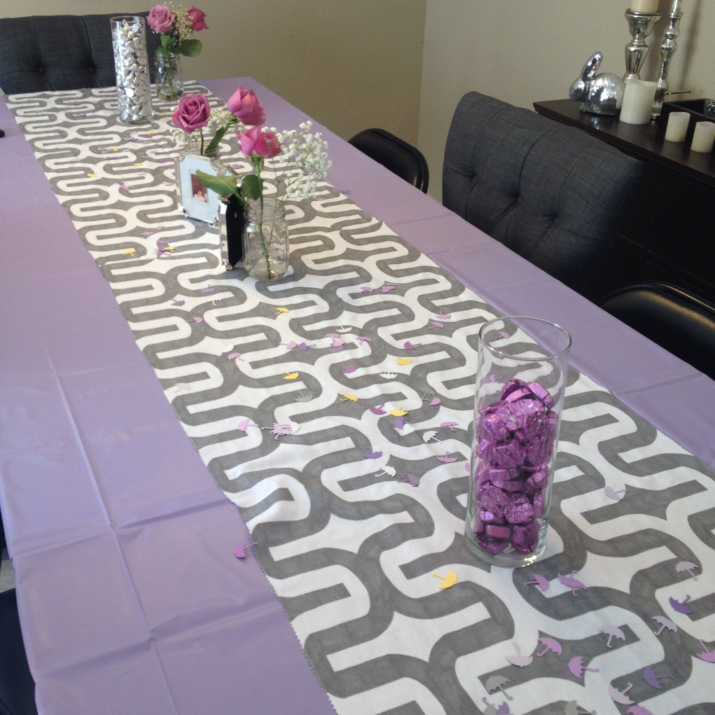 Elegant Use Fabric As A Table Runner Over A Plastic Table Cloth For Baby Shower.