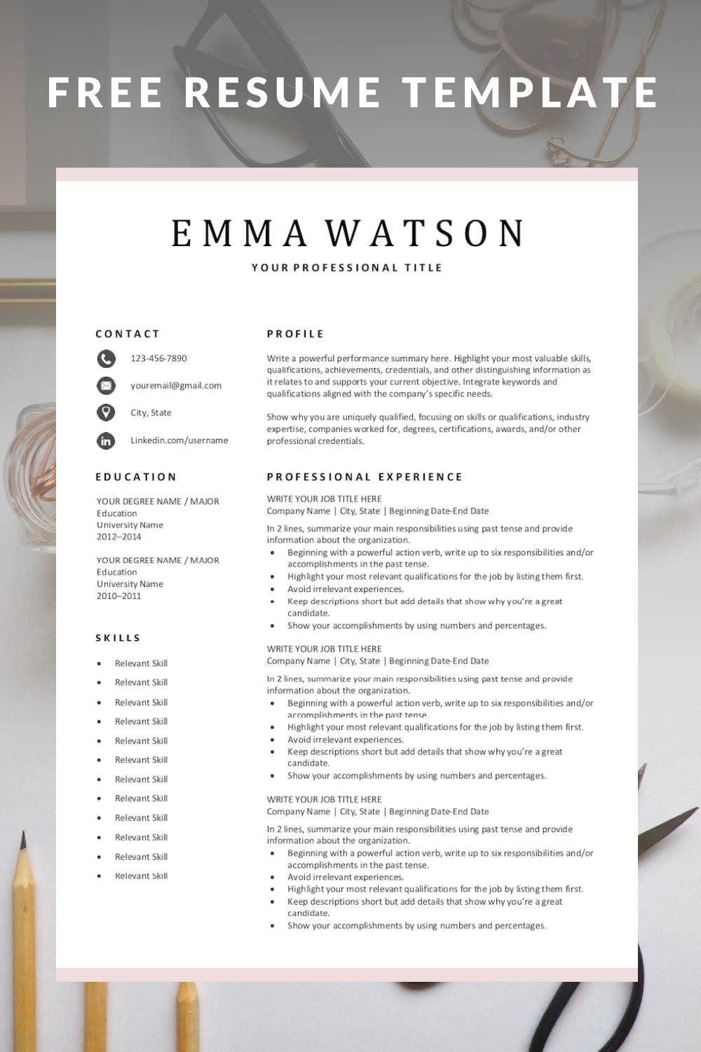 Free Simple Resume Template Download for Free in 2020