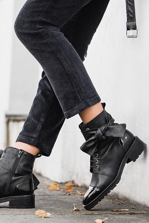 Black Flat Ankle Boots. Add a statement finish to skinny jeans with Kurt  Geiger London s fe2961fd51
