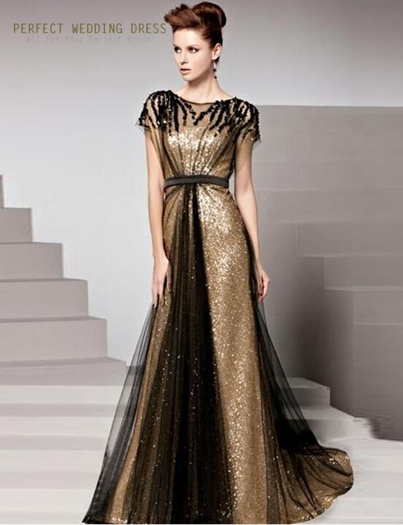 2016 Formal Dinner Dress Vestidos De Festa Stunning New Cap Sleeve Scalloped Gold Sequin Black Tulle