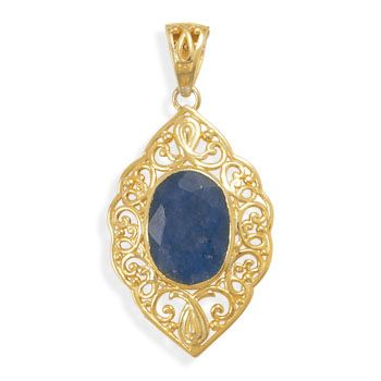 Ornate 14 karat gold plated sterling silver and 14mm x 18mm oval rough-cut sapphire pendant. The pendant measures 35mm x 50mm. VENDOR CODE:  AFF9965, http://samanthassilver.com/