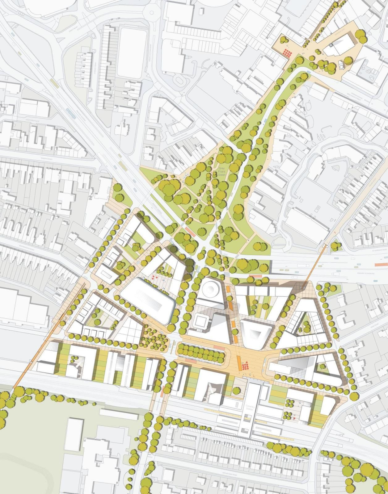 I like the attention to green space here dl friargate for Coventry plan