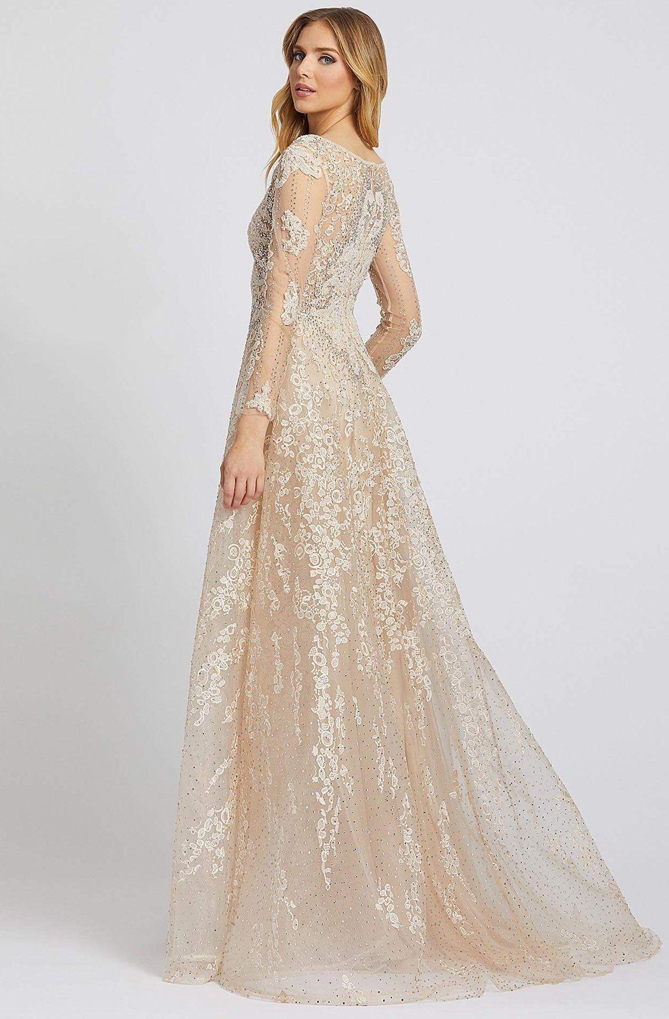 Mac Duggal Evening 20212d Long Sleeve Embroidered A Line Gown In 2021 A Line Gown Long Sleeve Wedding Gowns Short Sleeve Wedding Dress [ 2000 x 1314 Pixel ]