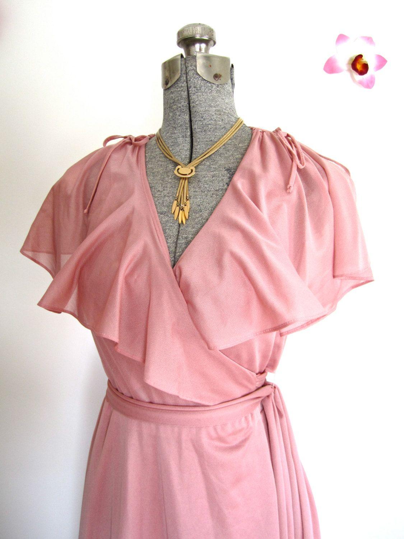 S M 70s Disco Pink Wrap Dress Flutter Sleeves Silky Poly Etsy Fashion Pink Wrap Dress 70s Vintage Fashion [ 1500 x 1125 Pixel ]