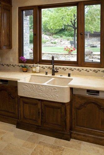 Farmhouse sink in Tuscany Kitchen - mediterranean - kitchen - los ...