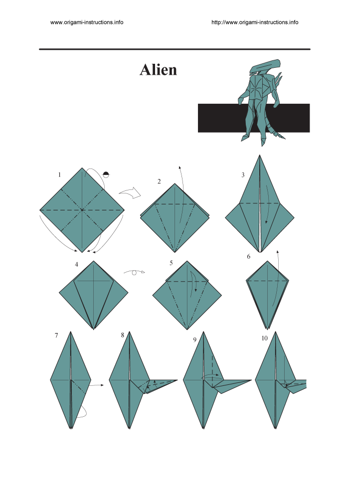 82 Origami Alien Instructions 232 Face Hugger Setting The Crease