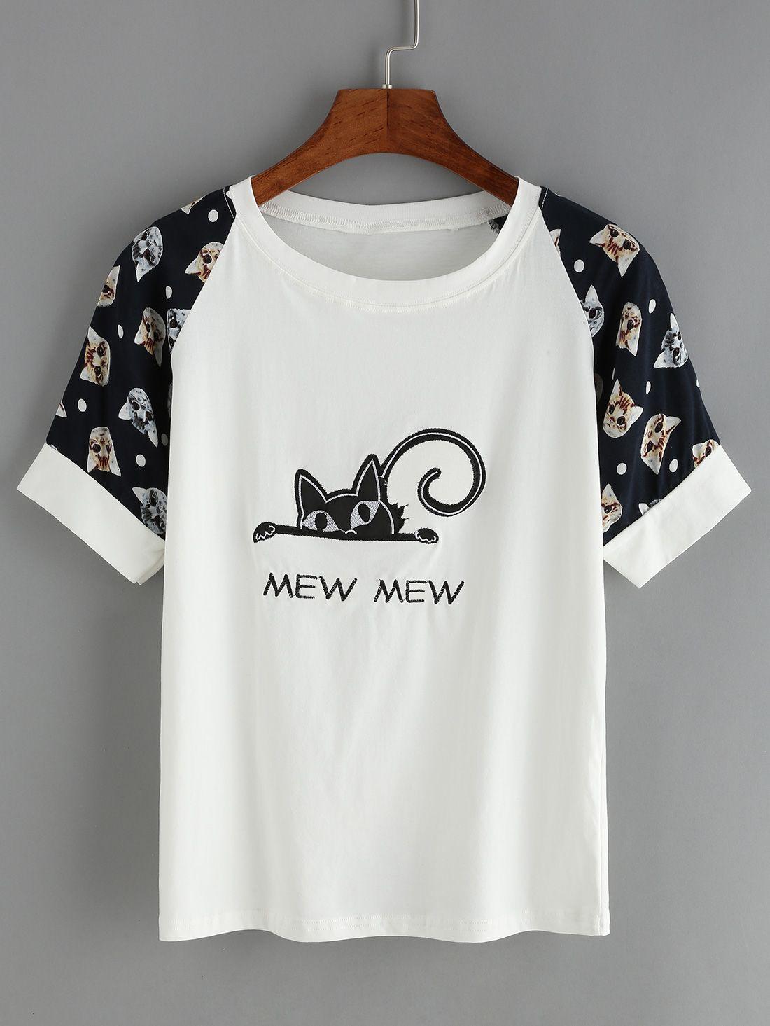 a08bc80649 Camiseta+cuello+redondo+manga+corta+bordada+gato+8.33 Más