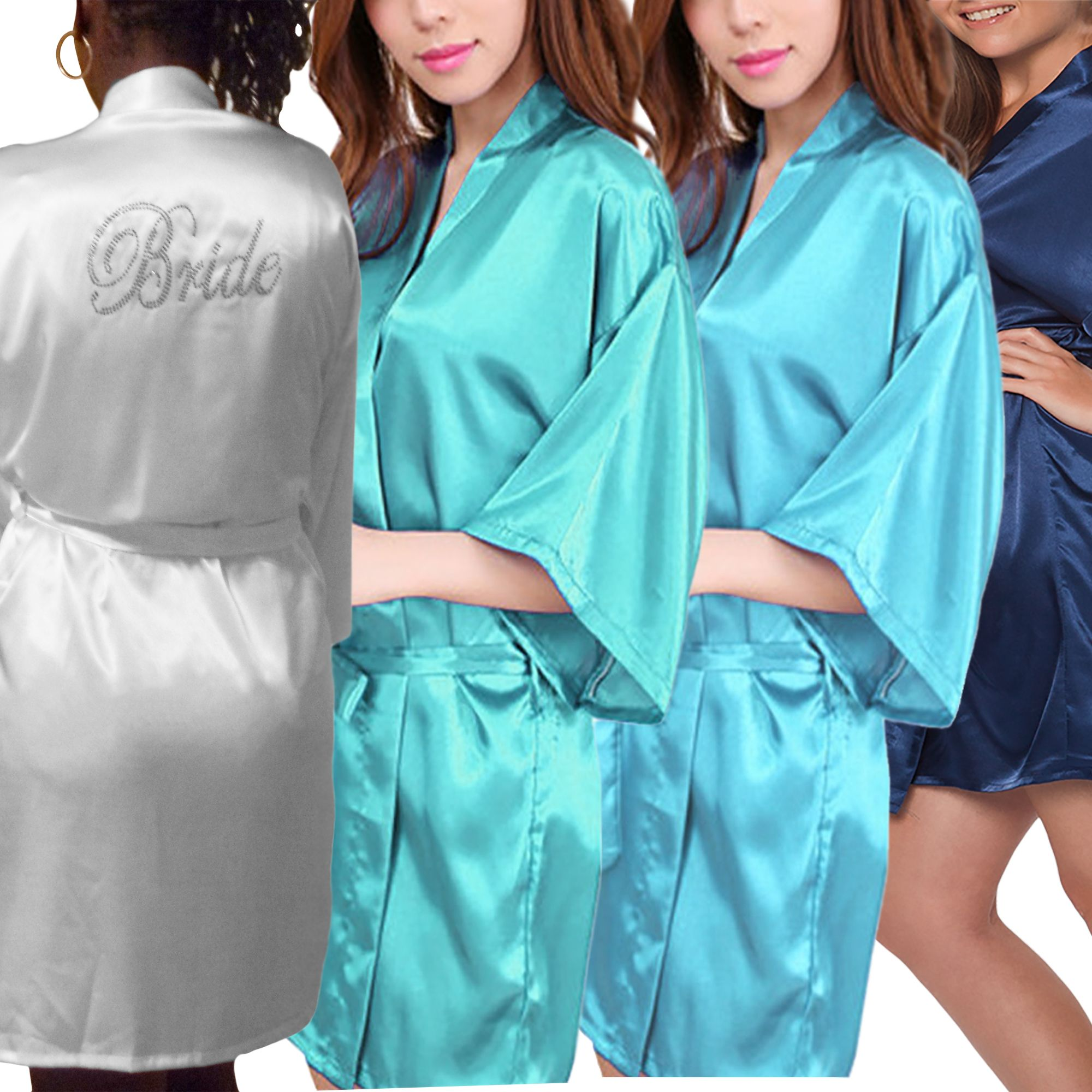 0cbe689865cd Solid Satin Wedding Robes for Brides and Bridesmaids for sizes 4 to 26.  Some robes