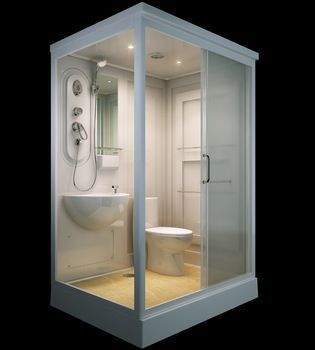 Great ALL IN ONE Flat Pack Modular Shower Room,Toilet, Basin Assembled Size 140 X  In Industrial, Modular U0026 Pre Fab Buildings