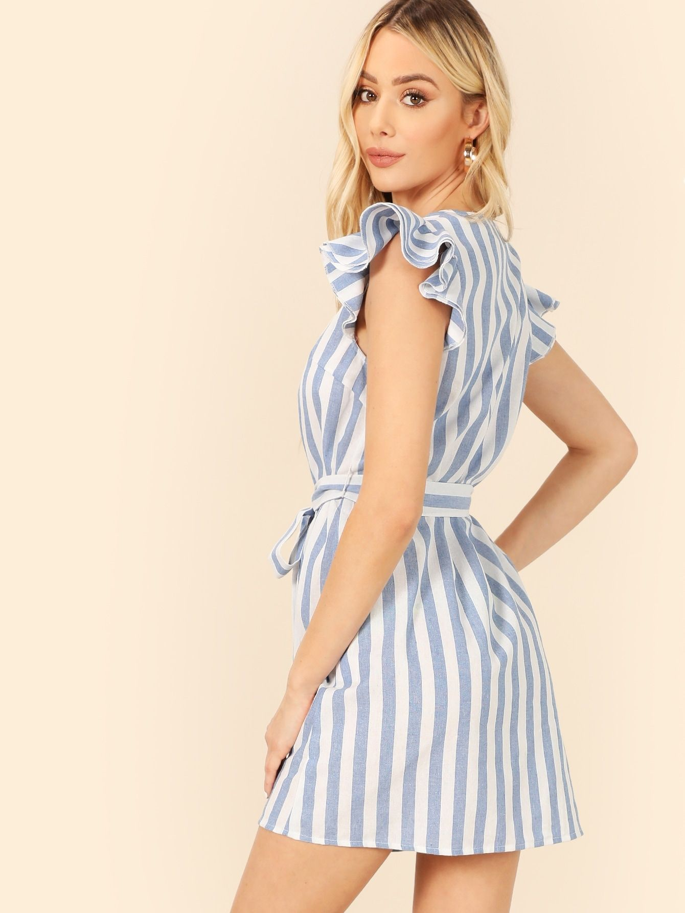 Ruffle Cap Sleeve Self Belted Striped Dress Shein Short Summer Dresses Striped Dress Summer Dress Outfits [ 1785 x 1340 Pixel ]