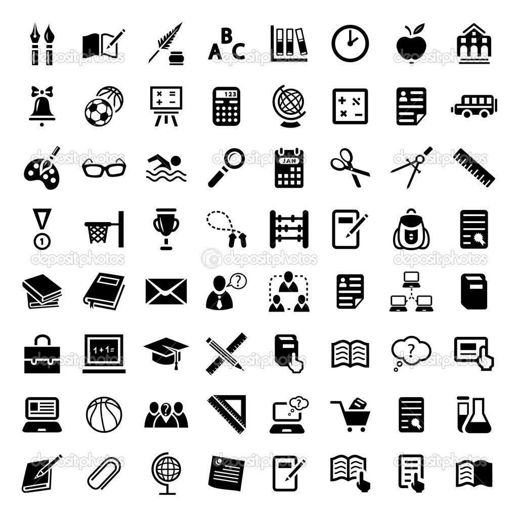 Big School Icon Set Stock Vector