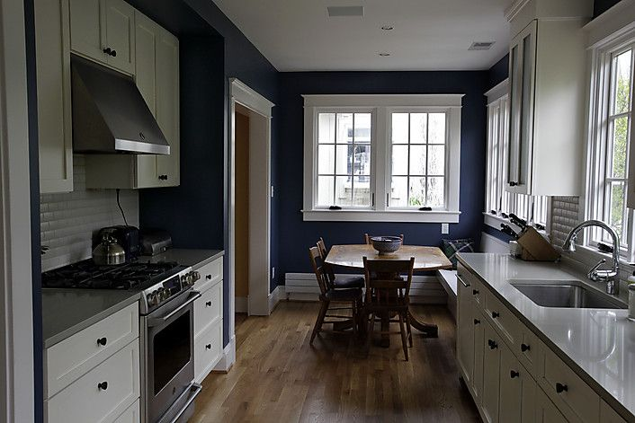 Blue Navy Kitchen Cabinets With Black Tile Glass Open Shelves With Brass Hardware Kitchen Design Contemporary Kitchen Kitchen Inspirations