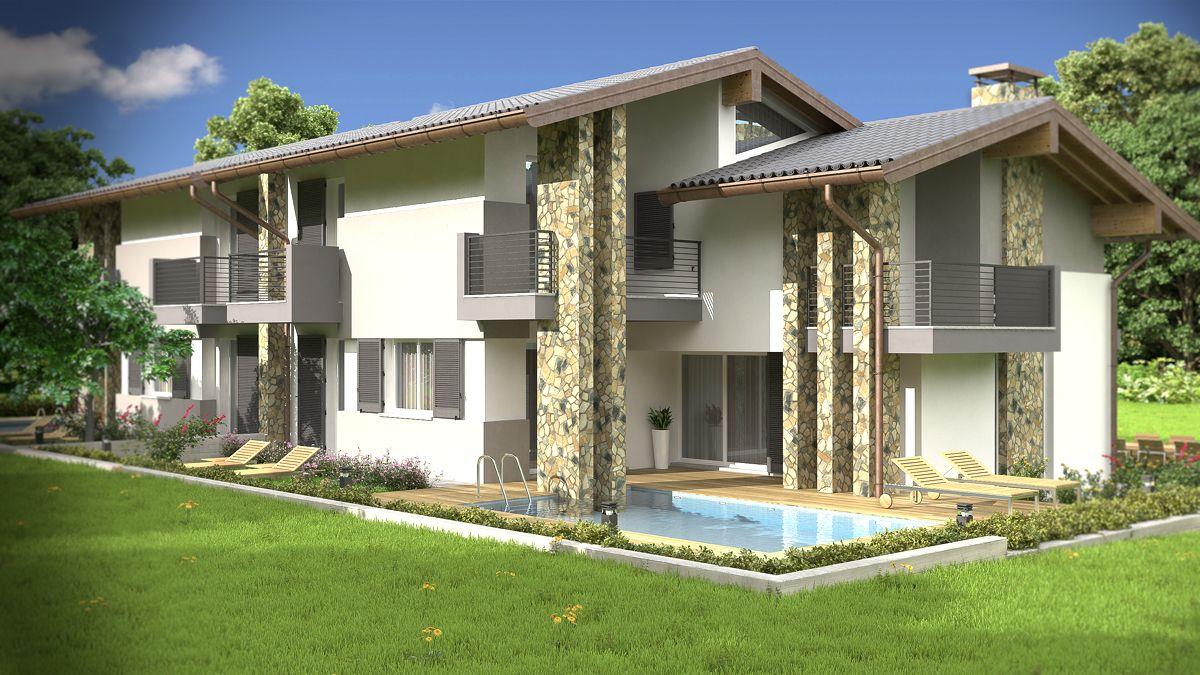 Rendering architettonico fotorealistico villa bifamiliare for Casa moderna esterno