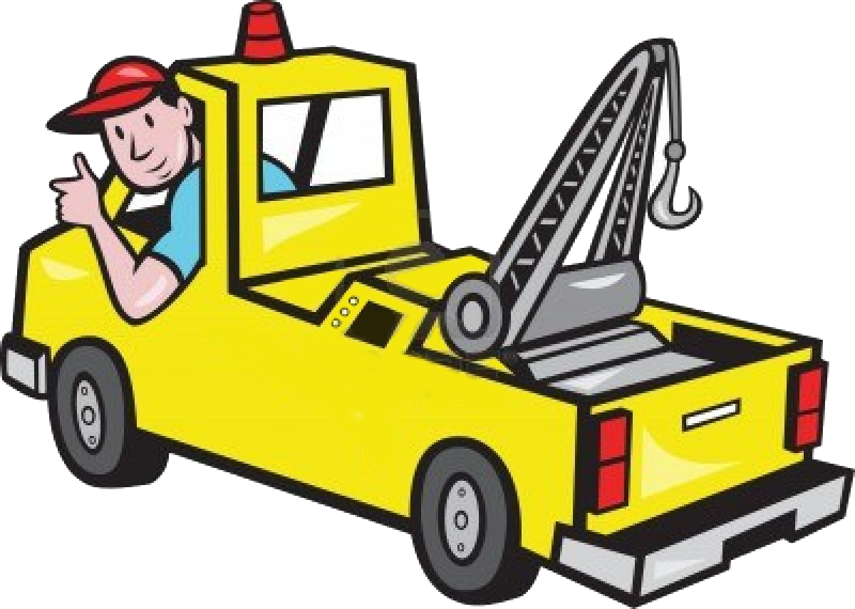 Illustration of a tow truck wrecker with driver thumb up on ...