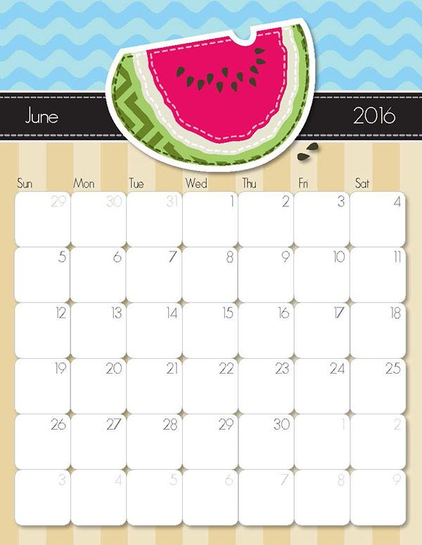 2018 summer calendar printable