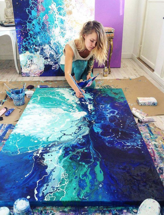 Ethereal Marbled Paintings By Emma Lindström | Pour ...