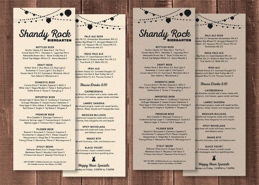 Shandy Rock  Beer Menu Fully Customizable Available In Sandstone