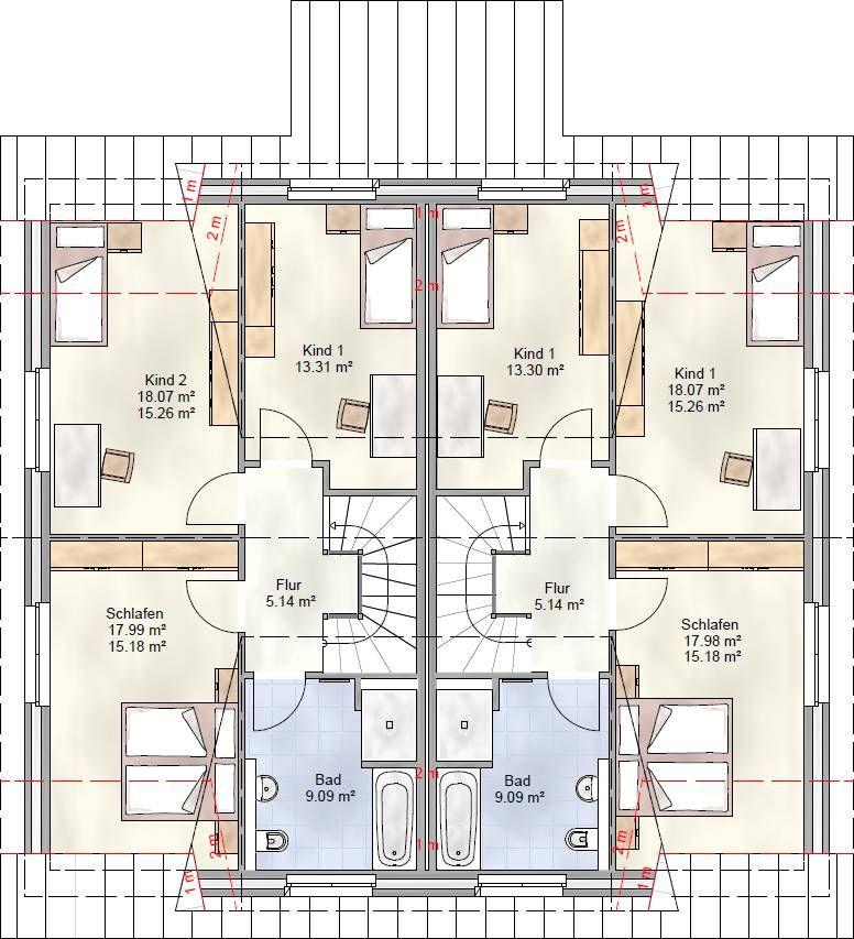 duo 125 doppelhaus grundriss dachgeschoss haus pl ne pinterest doppelhaus grundriss. Black Bedroom Furniture Sets. Home Design Ideas