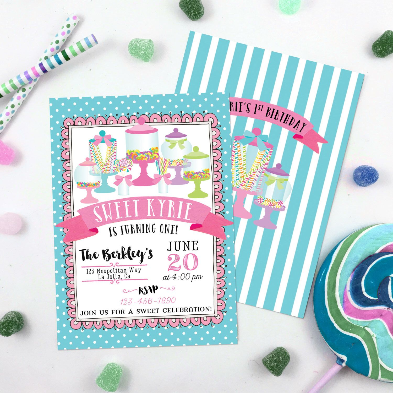 Candy Jar Invitation Candy Land Sweet Shoppe Invitation Candyland ...