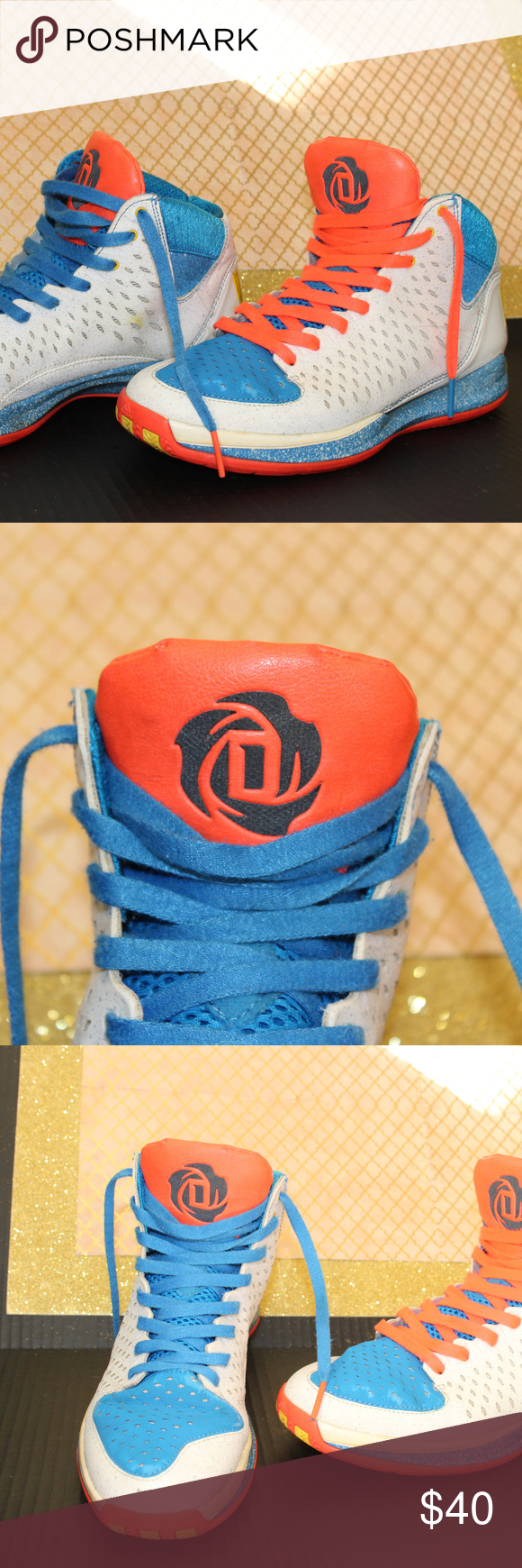 size 40 ccb48 aa853 D. Rose Basketball Shoes by Adidas Orange, blue, white, yellow details  adidas Shoes Athletic Shoes