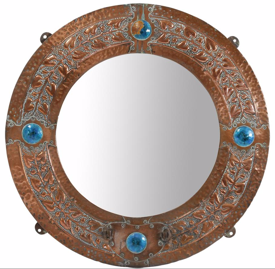 Arts and crafts mirrors - English Arts Crafts Embossed Copper And Enamel Circular Girandole Circa 1900 Hammered Copper