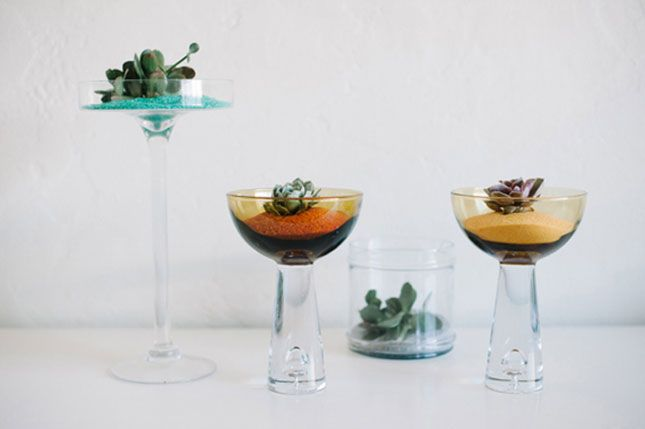 Use Colored Sand to Spruce Up Your Succulents via Brit + Co.