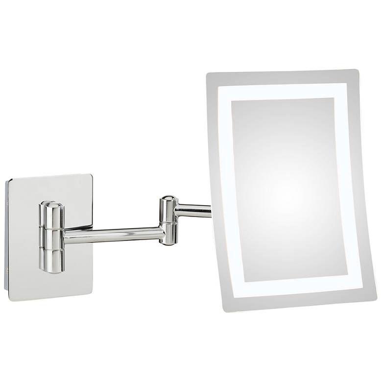 Wentz Chrome Led Rectangular Magnified Makeup Wall Mirror 40k37 Lamps Plus Mirror Wall Wall Mounted Makeup Mirror Led Lights