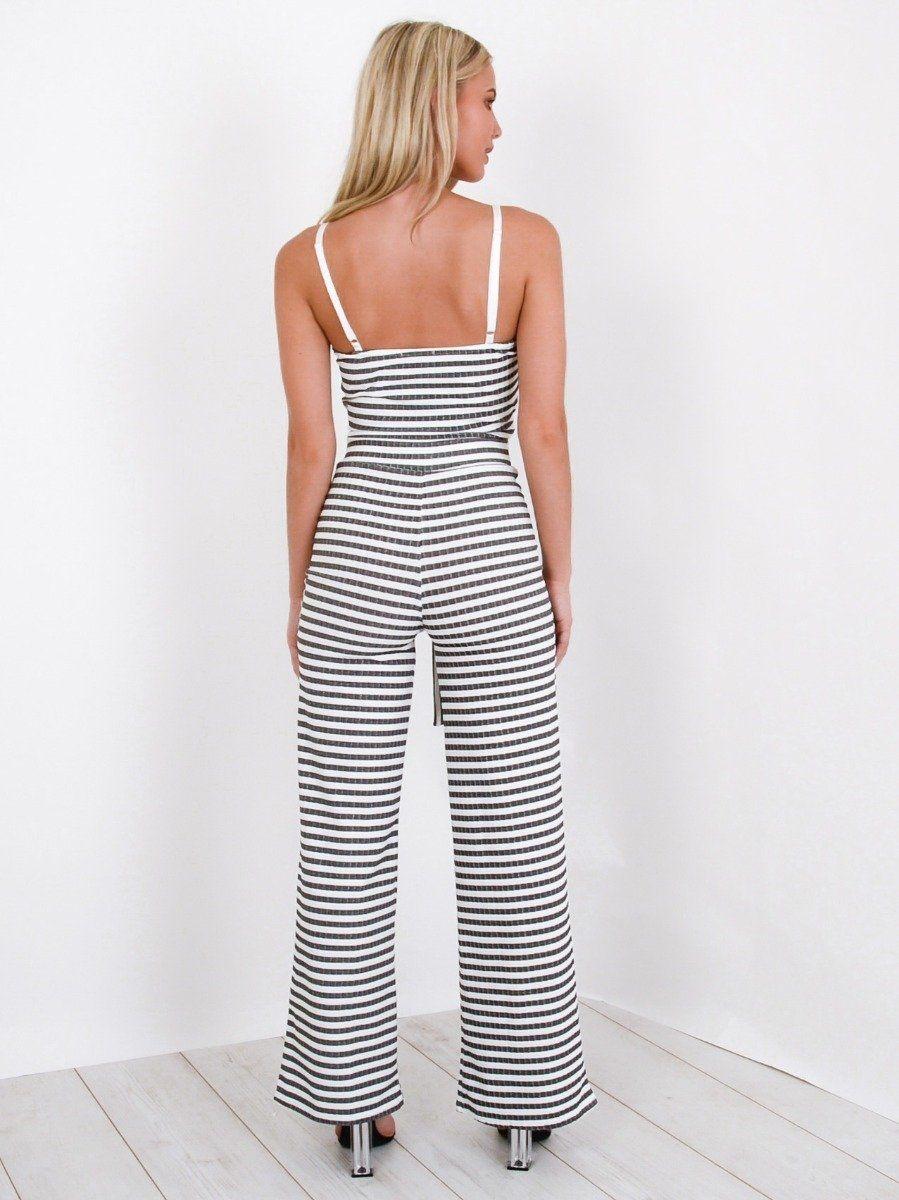 Grace Striped Cami Crop Top & Trouser Co-ord In Monochrome
