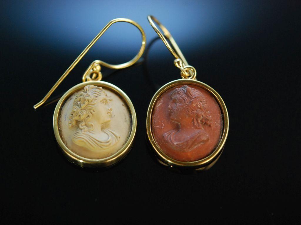 Antique Cameos! Ohrringe Silber 925 vergoldet Lava Kameen Neapel um 1850, historischer Kamee Schmuck bei Die Halsbandaffaire München