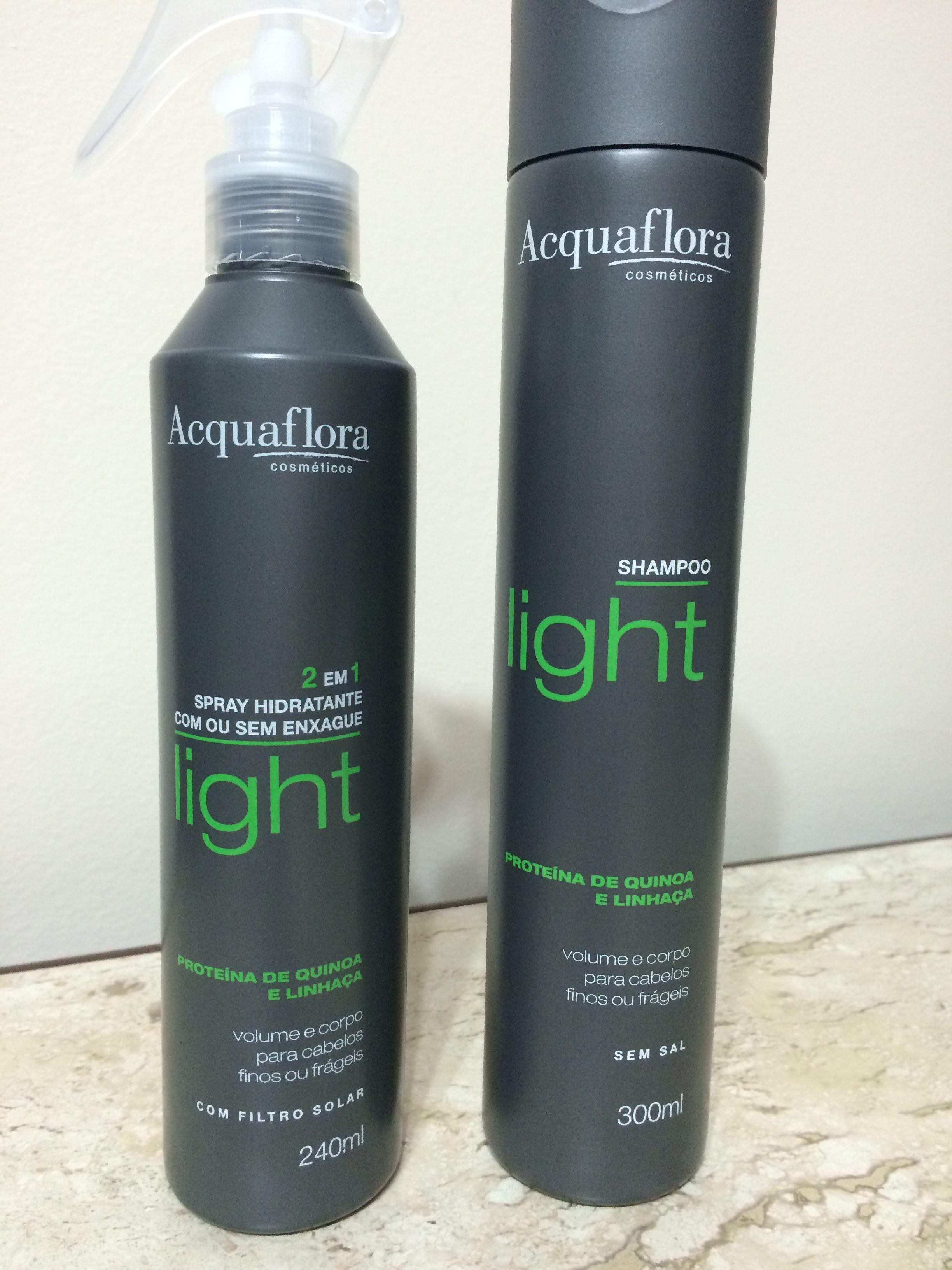 Shampoo e spray light de proteína de quinoa e linhaça para dar volume e corpo para cabelos finos ou frágeis da Acquaflora cosméticos.