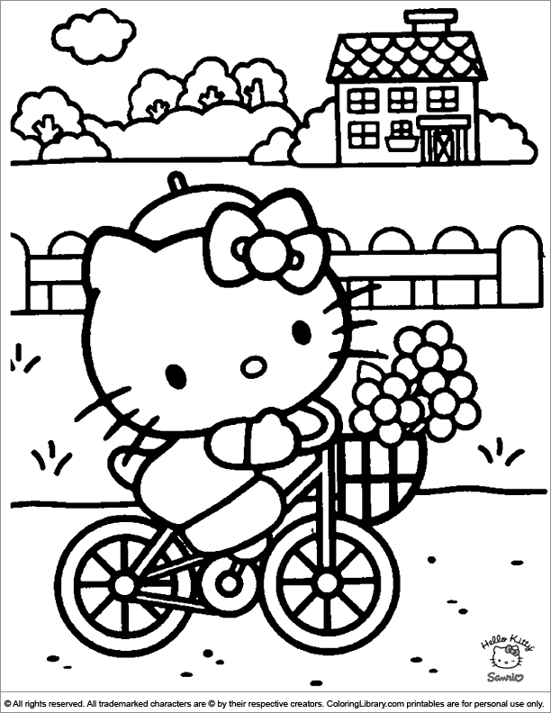Hello Kitty Coloring Page Riding Her Bike