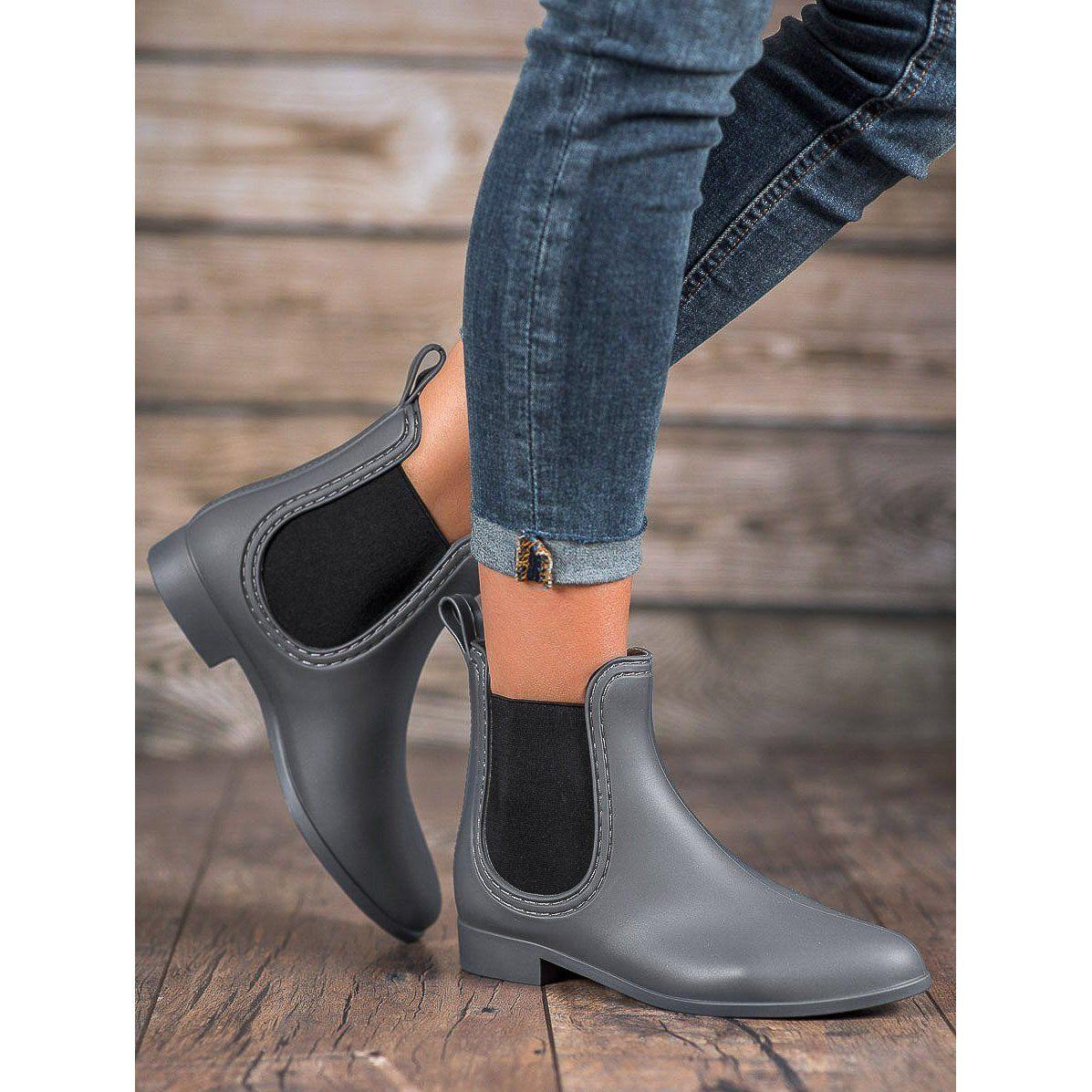 Kalosze Damskie Shelovet Shelovet Szare Wsuwane Kalosze Boots Women Shoes Rain Boots