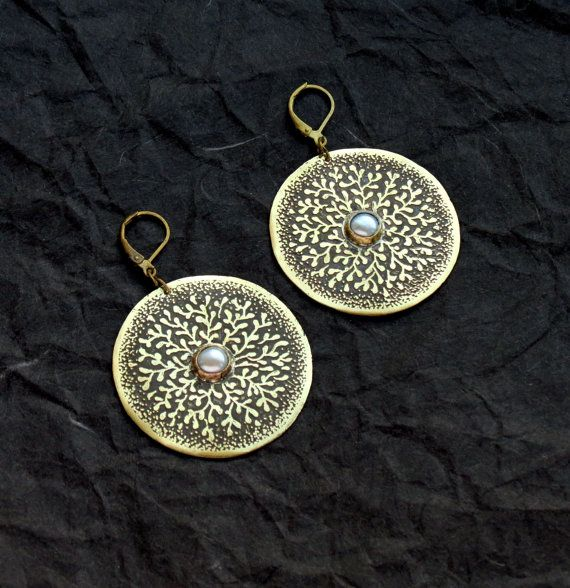 Round Boho Earrings  Etched Brass  UK Seller by spaceweaver, $49.00