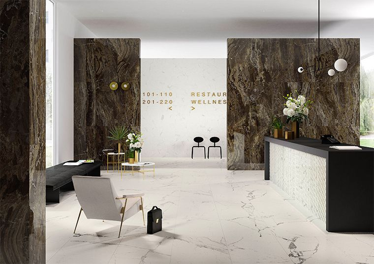 Porcelain stoneware with marble effect Allmarble by Marazzi - tv im badezimmer